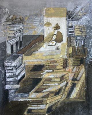 Fernando Pessoa totalmente rodeado de livros
