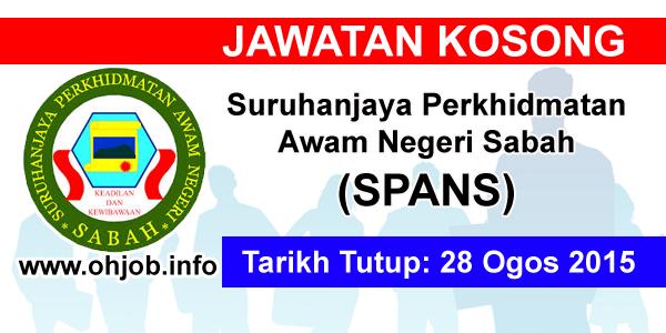 Jawatan Kerja Kosong Suruhanjaya Perkhidmatan Awam Negeri Sabah (SPANS) logo www.ohjob.info ogos 2015