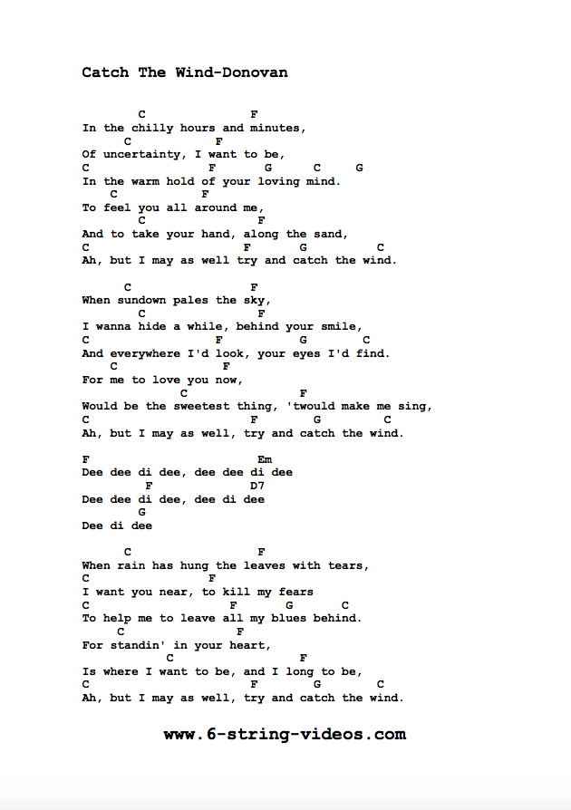 Guitar Tabs: Lyrics and Chords For: Cat The Wind by Donovan