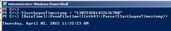PowerShell - Convert Large Integer value to Date Time string