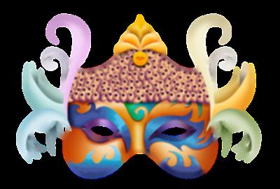 Máscara Carnaval PNG - Asiática multicor