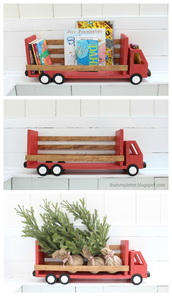 diy truck shelf for books or holiday decor