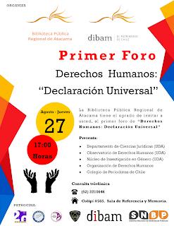"""INVITACION PRIMER FORO DERECHOS HUMANOS """"DECLARACION UNIVERSAL"""""""