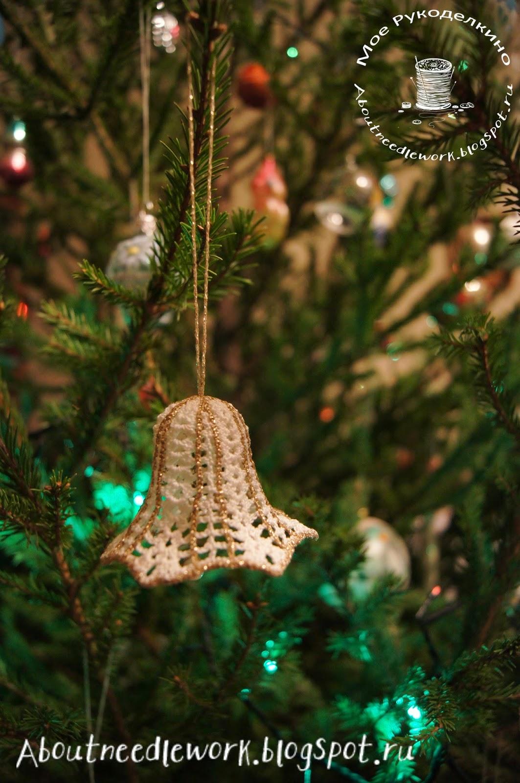Вязание крючком: новогодние колокольчики