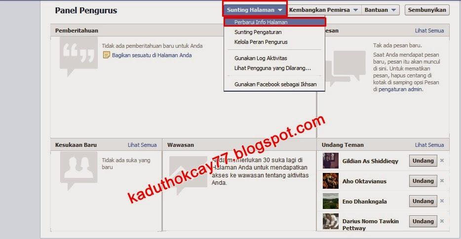 Sunting Halaman fanspage Facebook