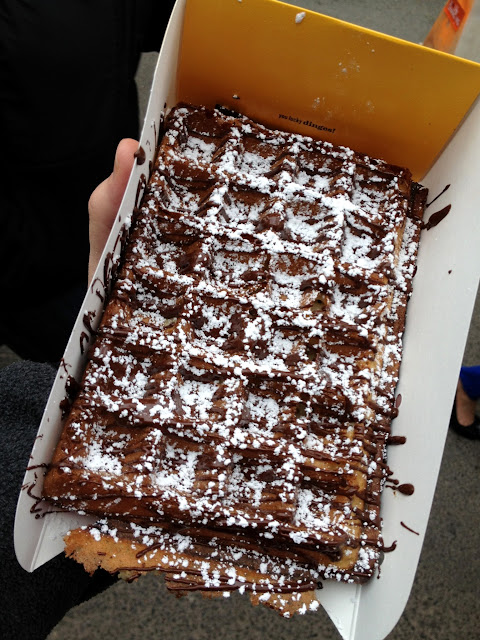 Brussels waffle with chocolate and powdered sugar from Waffles & Dinges truck.