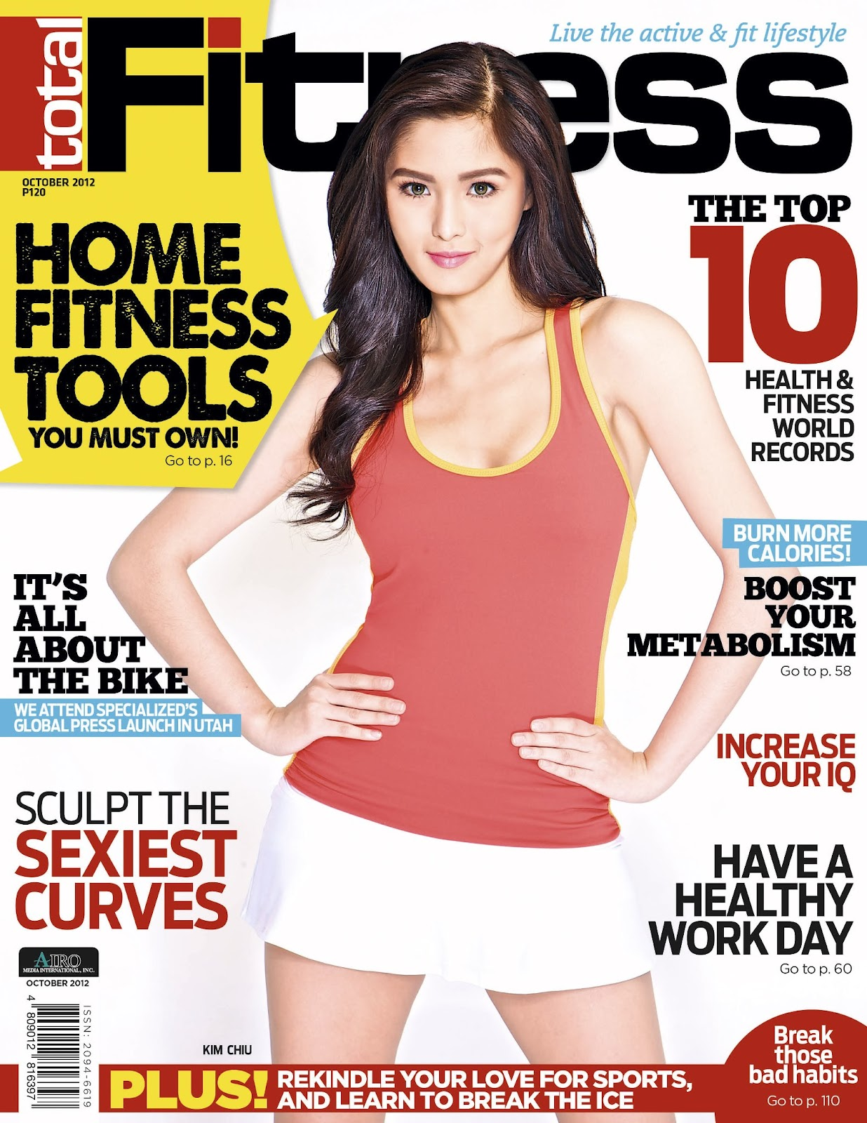 turtz on the go kim chiu covers total fitness magazine october 2012 issue. Black Bedroom Furniture Sets. Home Design Ideas