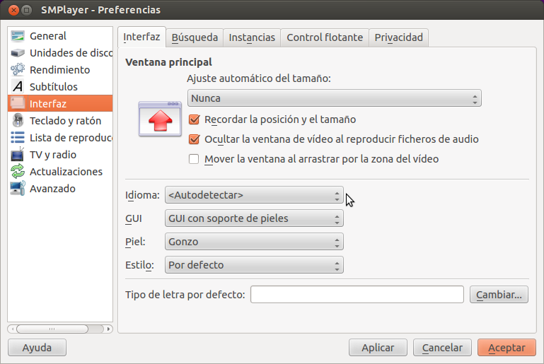 SMPlayer Preferencias