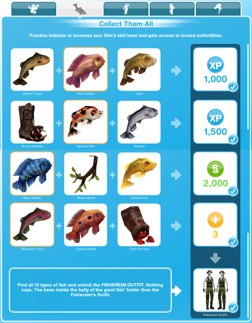 Sims freeplay quests and tips hobbies fishing for Sims 4 fishing