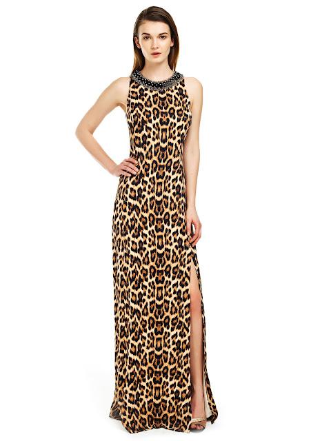 leopar desenli abiye, yırtmaçlı abiye, gece elbisesi, uzun abiye, uzun elbise, desenli elbise, sade abiye