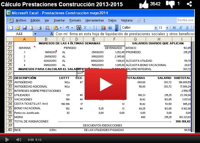 Cálculo Prestaciones Sociales CCV 2013 2015  en la Construcción