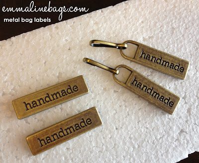 "Metal Bag Labels and Zipper Pulls ""Handmade"""