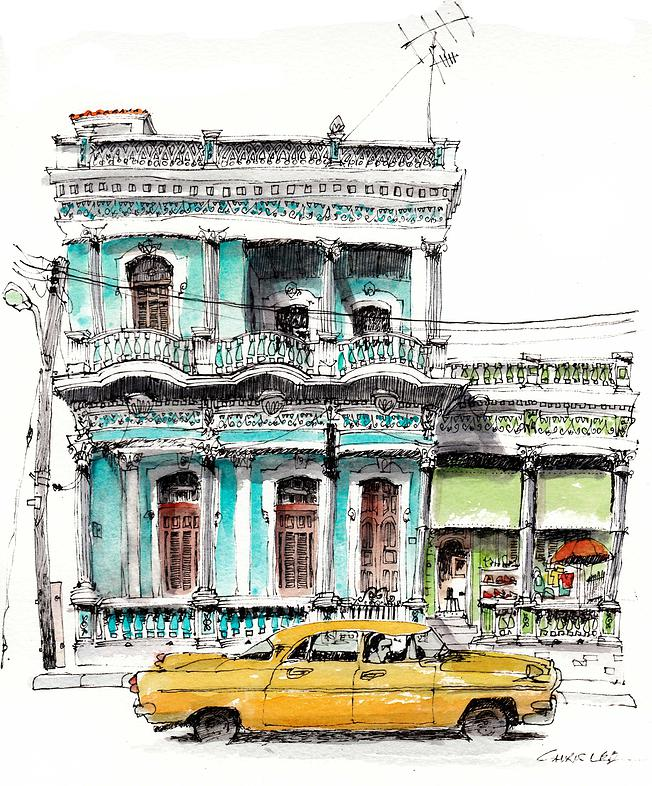 01-Cuba-Cienfeugos-Chris-Lee-Charming-Architectural-wobbly-Drawings-and-Paintings-www-designstack-co