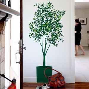 ... dinding dengan motif pohon, bunga, tanaman. Dan, Anda kini tak perlu
