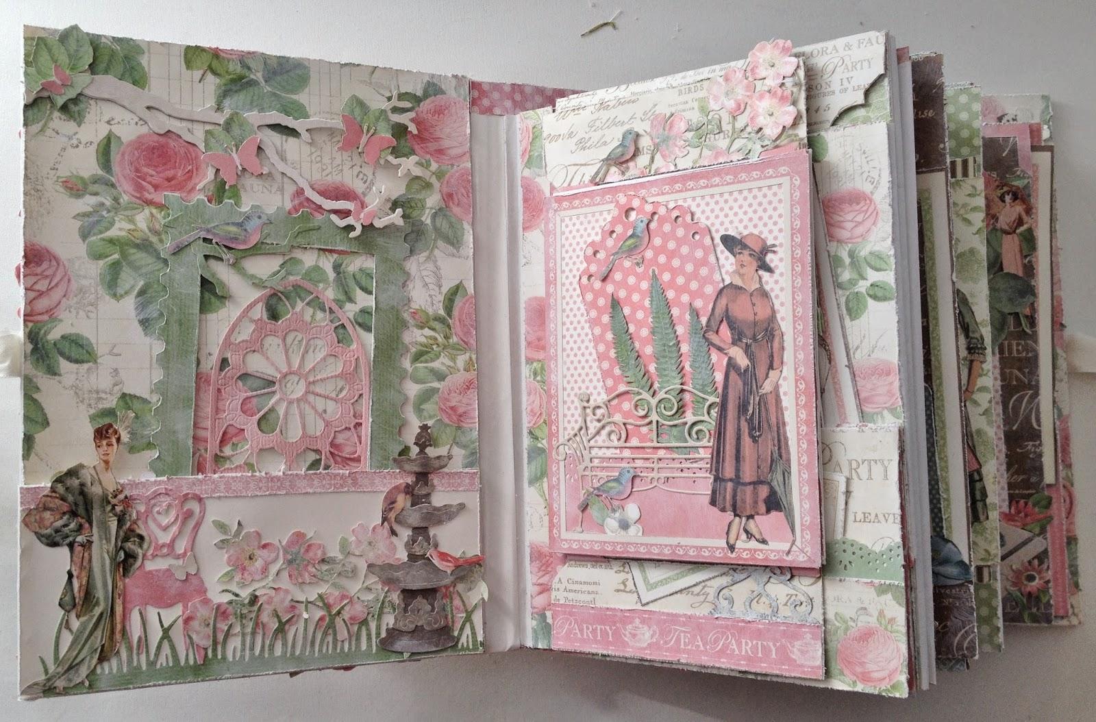 Scrapbook ideas abc album - G45 Botanical Tea Envelope Mini Album With Flaps Challenge With Linda At Livartnow