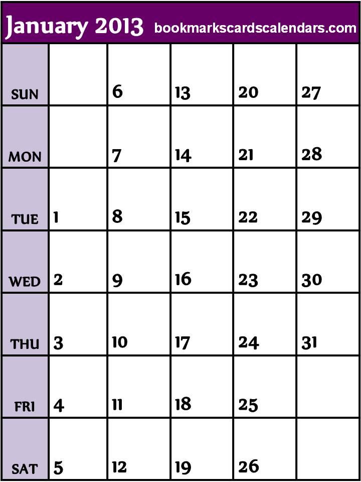 ... Calendars 2015, Bookmarks, Cards: Purple Lines Calendar 2013 January