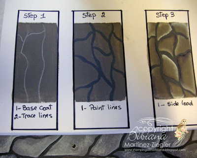 how to paint a cobblestone path: acrylic paints step 1-3