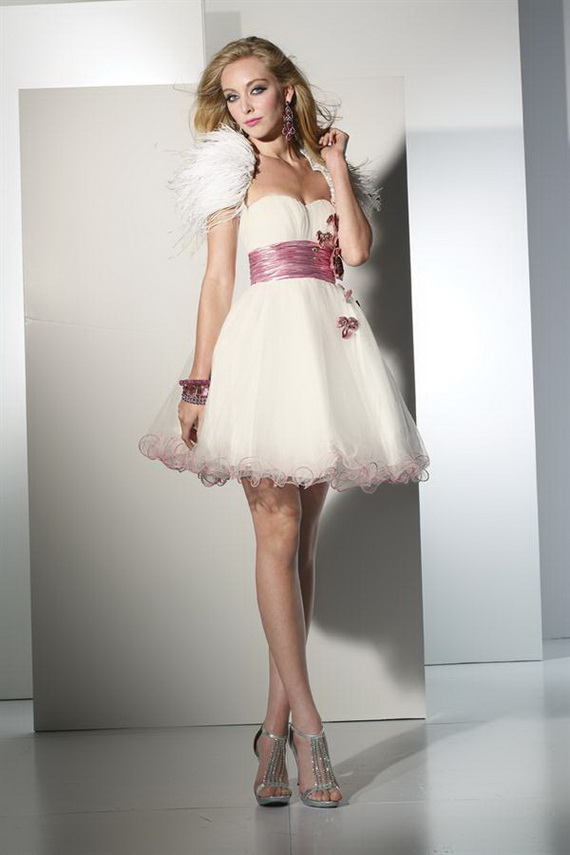 strapless sweetheart white short prom dress