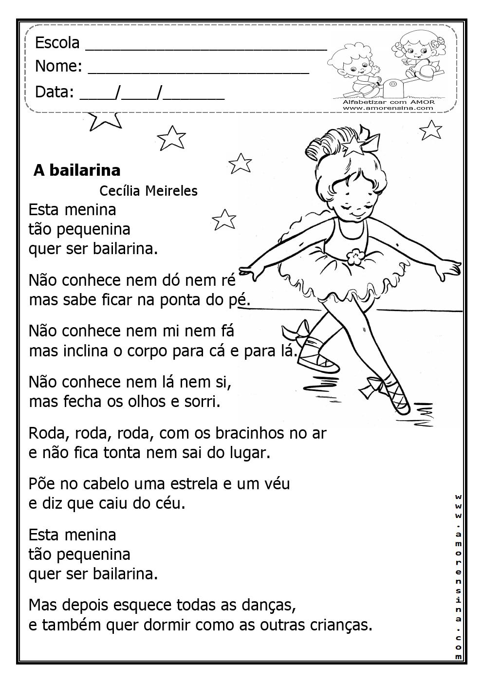 Fabuloso PROFª ADRIANA, ALFABETIZANDO COM AMOR: A Bailarina - Cecília  ZI86