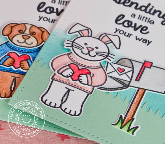 Sunny Studio: Valentine's Day Sending My Love Note Cards by Elise Constable (using Sending My Love stamps & Sunny Sentiments dies)