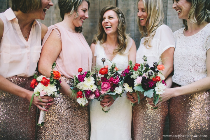 rose gold bridesmaids dresses pink flowers