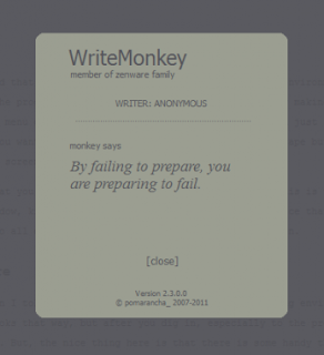 Writemonkey's unique greeting upon opening program