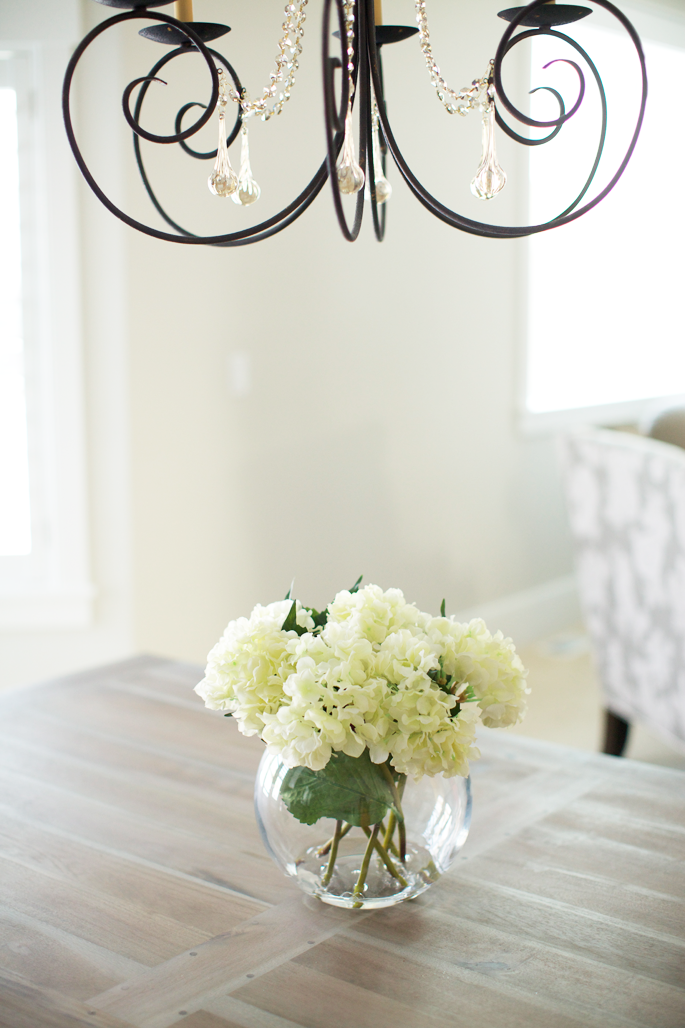 Table: Restoration Hardware | Chandelier: Hansen Lighting | Silk  Hydrangeas, Vase, Craft Water, Floral Cutters: all via Hobby Lobby (be sure  to watch for ... - A Little DIY... - Pink Peonies By Rach Parcell