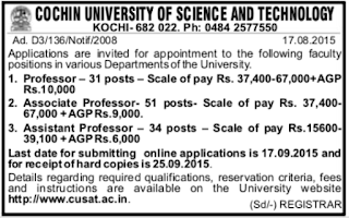 CUSAT Faculty Recruitment