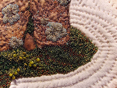 Thom Atkins, beaded quilt, Serenity, detail