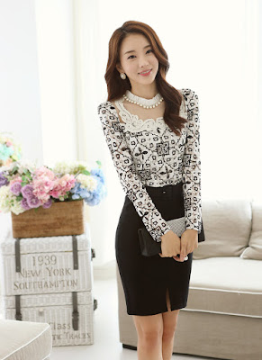 Contoh Blus Fashion Lengan Panjang Korea