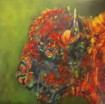 """Rising From Ashes"", buffalo portrait  SOLD!"
