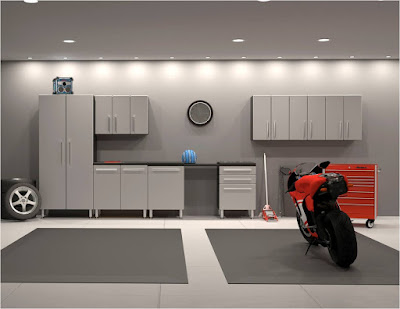 Garage Design Ideas with Cabinet and Hanger Compartment for the Sake of Good Arrangement