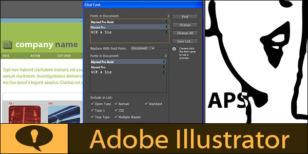 Find Font dialog in Adobe Illustrator