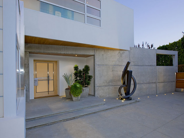 Picture of modern entrance doors at the entrance in the modern mansion