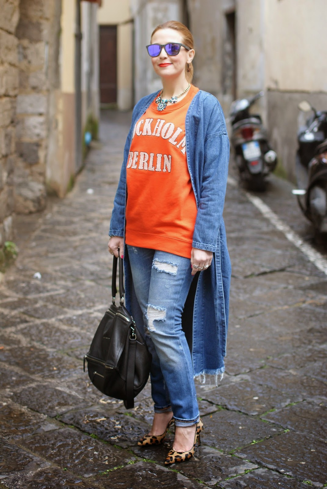 Monki, Monki belted denim jacket, long denim coat, H&M orange sweatshirt, denim long jacket, leopard pumps, Givenchy Pandora bag on Fashion and Cookies fashion blog, fashion blogger