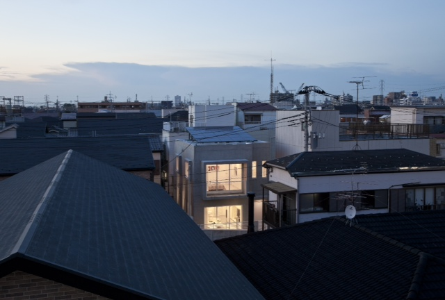 Modern home in Japan as seen from the roofs
