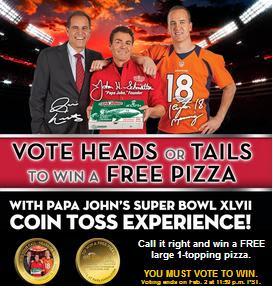 Papa John's Super Bowl XLVII Coin Toss Experience