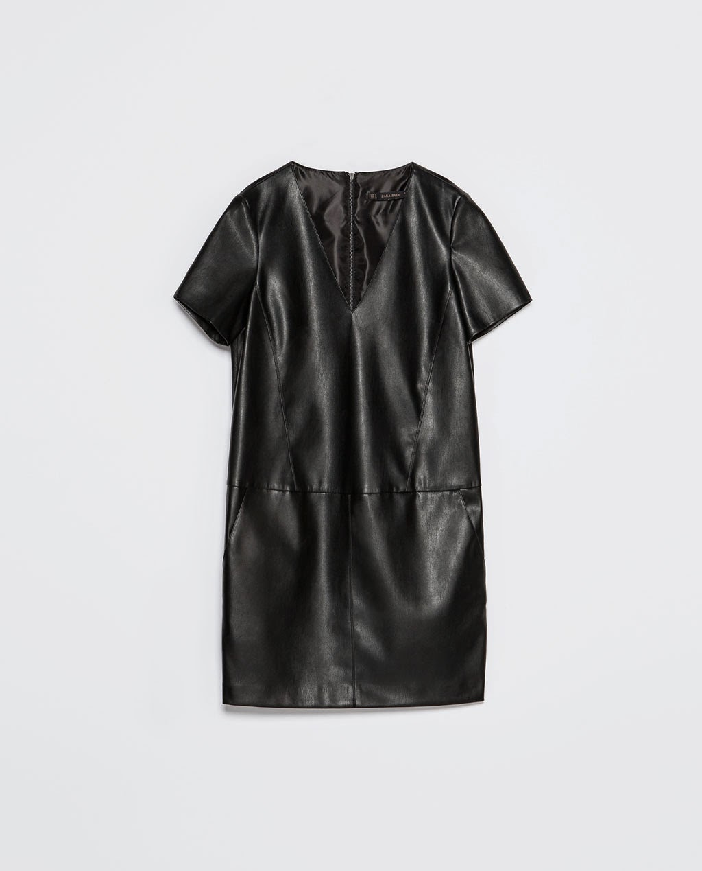 Zara, drees, vestido, black, polipiel, negro