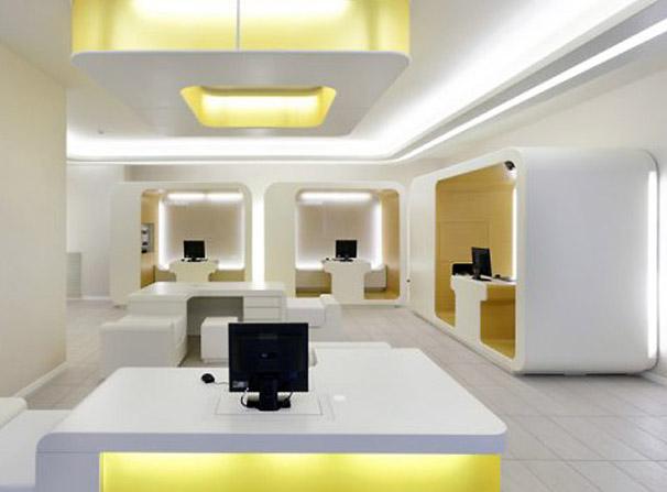 Modern Office Bank Interior Lighting Design