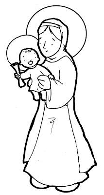Virgen y el niño Jesús colorear