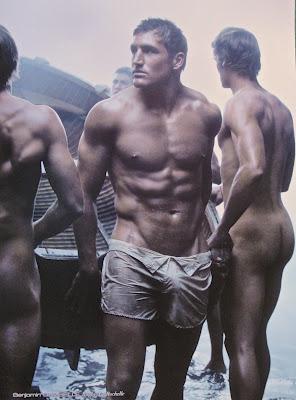 Naked men at work