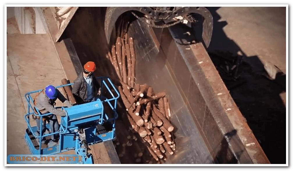 ,donde se elimina la lignina de las astillas de la madera
