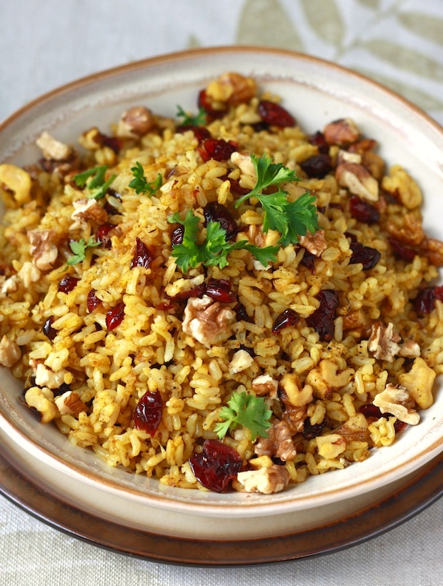 Curried Cranberry Walnut Rice recipe by SeasonWithSpice.com