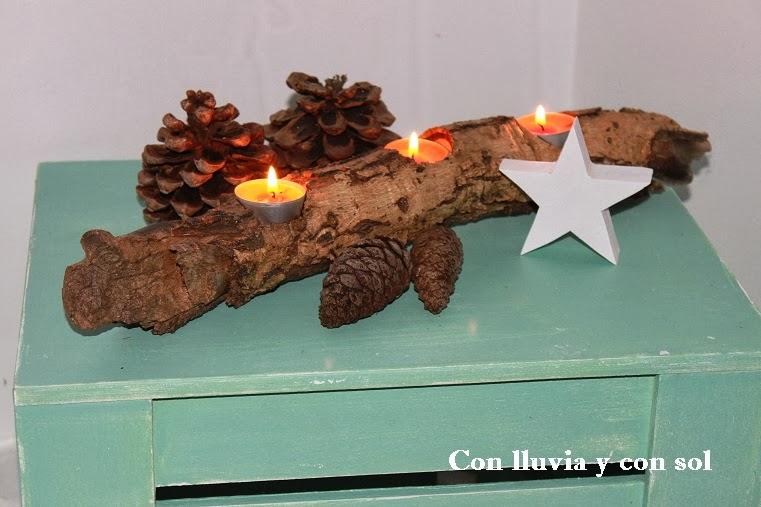 Con lluvia y con sol portavelas de navidad - Adornos navidenos de madera ...