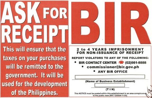 Ask for BIR receipt