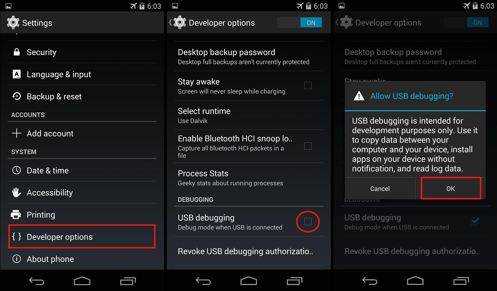 Nexus 5 dev options usb debugging