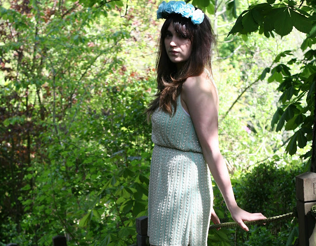 uk fashion, fashion styling, fashion style, beaded dress, mint dress, floral crown, flower headband, in the secret garden inspired outfit, wearing a summer pastel outfit, light blue roses, mint green beaded topshop dress with silver wedges, sling backs.