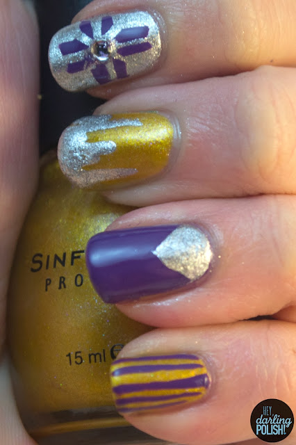 nails, nail polish, nail art, hey darling polish, tri polish challenge, purple, gold, silver, nail skittles