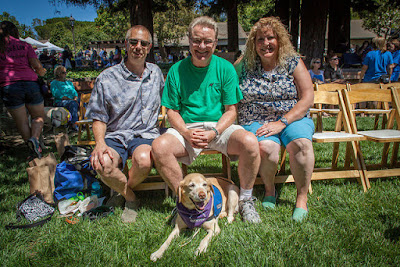 Jim, Trinity (yellow Lab wearing her purple scarf and blue jacket), Don & Kelli from last summer's Fun Day in CA