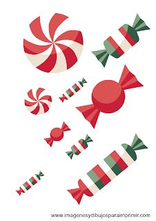Caramelos con los colores de navidad